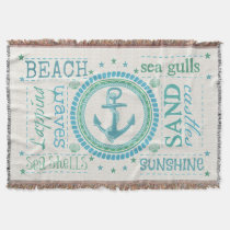 Nautical Beach Typography Chevron Throw Blanket