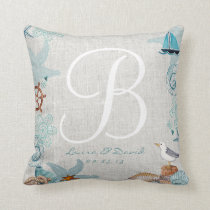 Nautical Beach Wedding Cotton Throw Pillow