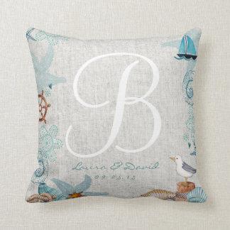 Nautical Beach Wedding Cotton Throw Pillow Pillow