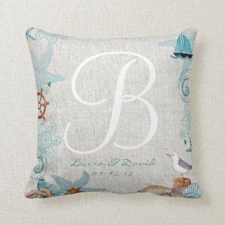 Nautical Beach Wedding Cotton Throw Pillow