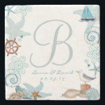 "Nautical Beach Wedding | Custom Marble Coaster<br><div class=""desc"">Cartita design &#169;2015  All Rights Reserved