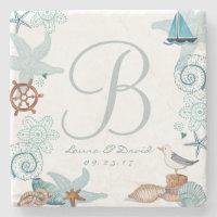 Nautical Beach Wedding | Custom Marble Coaster