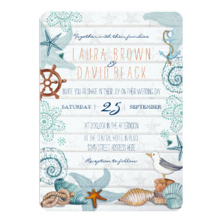 "Nautical Beach wedding invitation 5"" X 7"" Invitation Card"