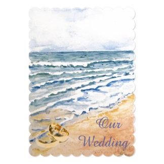 Nautical beach wedding 5x7 paper invitation card