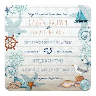 "Nautical Beach wedding invitation 5.25"" Square Invitation Card"