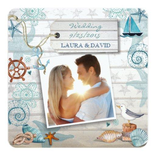 Nautical Beach Wedding Invitation Photo Custom Invitations