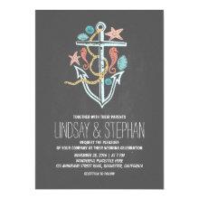 Nautical beach wedding invitations - chalkboard invitations