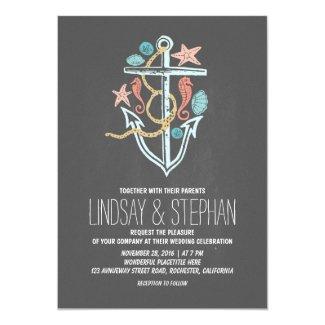Nautical beach wedding invitations - chalkboard