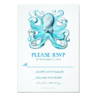 nautical beach wedding RSVP card with octopus