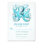 "nautical beach wedding RSVP card with octopus 3.5"" X 5"" Invitation Card"
