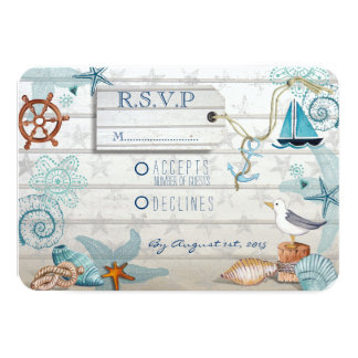 Nautical Beach Wedding RSVP 3.5x5 Paper Invitation Card