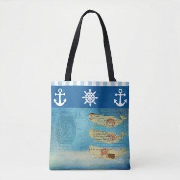 Beach Themed Nautical Beach Whales Blue and White Stripe Beach Tote Bag