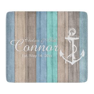 Nautical Beach Wood Stripes & Anchor Cutting Board