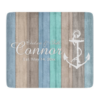 Nautical Beach Wood Stripes & Anchor Cutting Board