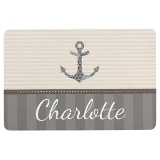 Nautical Beige and Brown Anchor Custom Name Floor Mat