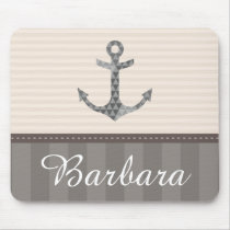 Nautical Beige and Brown Anchor Custom Name Mouse Pad
