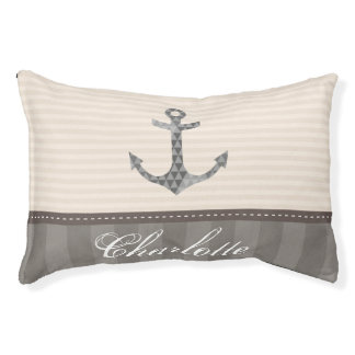 Nautical Beige and Brown Anchor Custom Name Pet Bed