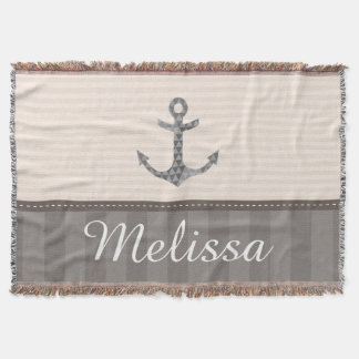 Nautical Beige and Brown Anchor Custom Name Throw Blanket
