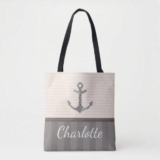 Nautical Beige and Brown Anchor Custom Name Tote Bag