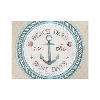 Nautical Best Day Burlap Beach Wrapped Canvas Canvas Print