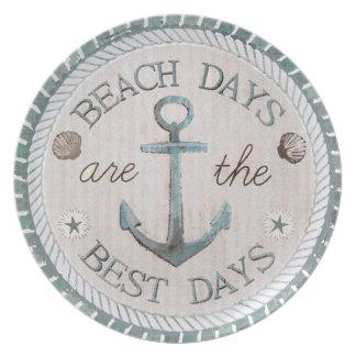 Nautical Best Days Beach Rustic Plate