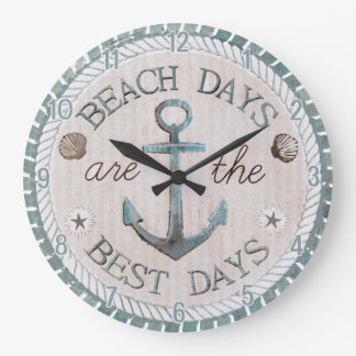 Nautical Best Days Beach Rustic Wall Clock
