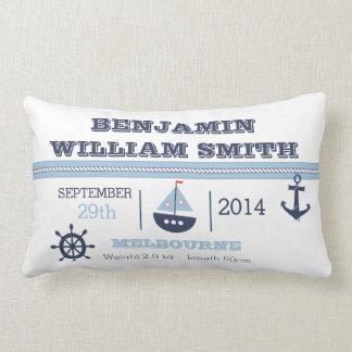 Nautical Birth Announcement Cushion For Boy Pillow
