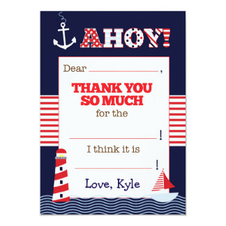 Nautical Birthday Fill In The Blank Thank You Note Card