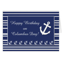 Nautical Birthday on Columbus Day, Anchor, Stripes Card