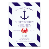 Nautical Birthday Party - Anchor   Crab Invitation