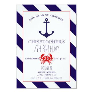 Nautical Birthday Party - Anchor + Crab 5x7 Paper Invitation Card