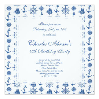 Nautical Birthday Party Blue and White Anchor Card