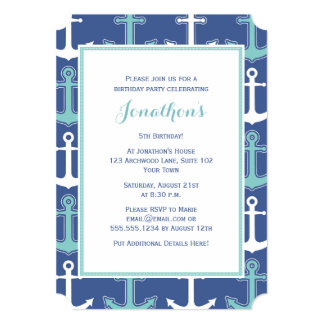 Nautical Birthday Party Invite Navy Blue and Teal