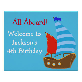 Nautical Birthday Sign- Personalized Poster