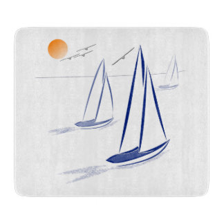 Nautical Bits Coastal Sailing Yachts Cutting Board