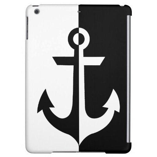 Nautical Black and White Anchor {pick your color} Case For iPad Air
