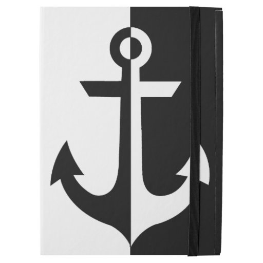 "Nautical Black and White Anchor {pick your color} iPad Pro 12.9"" Case"