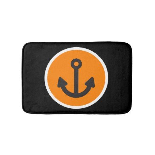 Nautical Black Orange Anchor Bathroom Mat Zazzle