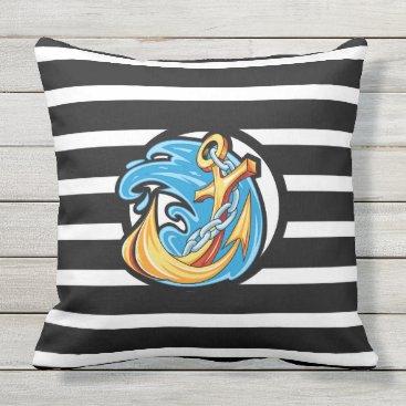 "Beach Themed Nautical Black Stripe Outdoor Pillow 20"" x 20"""