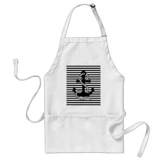 Nautical Black White Stripes and Black Anchor Adult Apron