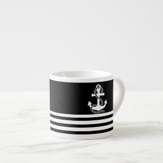 Nautical Black White Stripes and White Anchor Espresso Cup