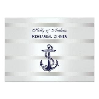 """Nautical Blu Anchor Silver Wht BG H Rehearsal Din 5"""" X 7"""" Invitation Card"""