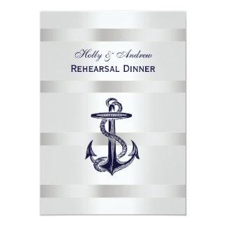 "Nautical Blu Anchor Silver Wht BG V Rehearsal Din 5"" X 7"" Invitation Card"
