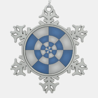 Nautical Blue Abstract Snowflake Pewter Christmas Ornament