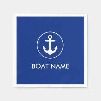 Nautical Blue Anchor Boat Name Cocktail Napkins