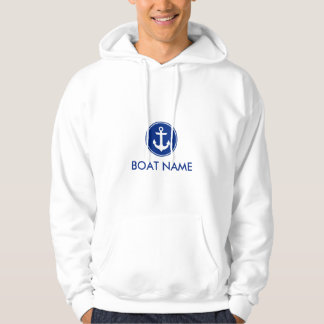 Nautical Blue Anchor Boat Name Hoodie S