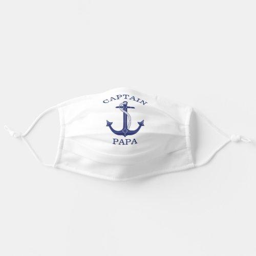 Nautical Blue Anchor Captain Papa Cloth Face Mask
