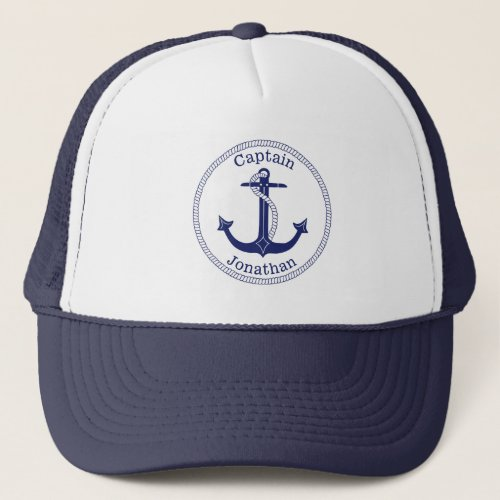 Nautical Blue Anchor Captain Personalized Trucker Hat