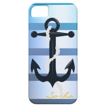 Beach Themed Nautical| Blue anchor design| stripes iPhone SE/5/5s Case