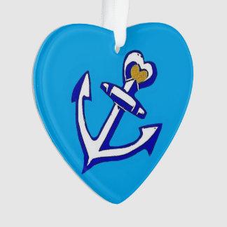 Nautical Blue Anchor Heart Ornament
